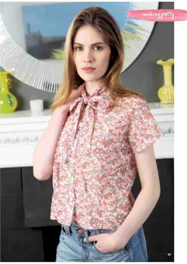 Kostenloses Schnittmuster Pussy Bow Bluse für Damen
