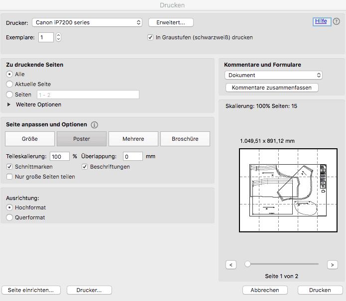 PDF Schnittmuster drucken grossformat
