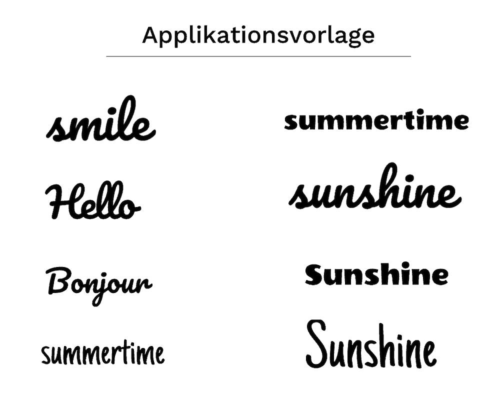 Buchstaben applizieren Applikationsvorlage