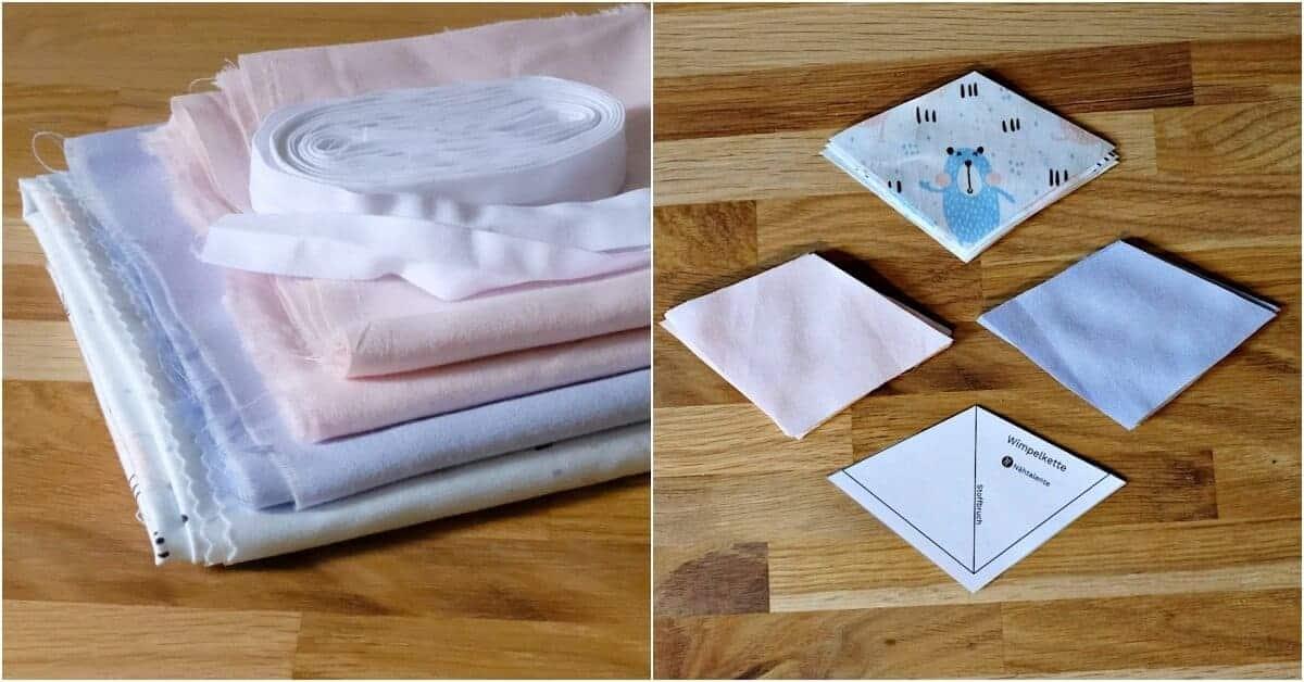 Material und Wimpel zuschneiden für Kette