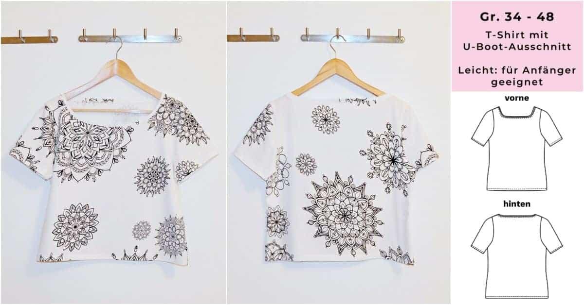 Kostenloses Schnittmuster T-Shirt für Damen