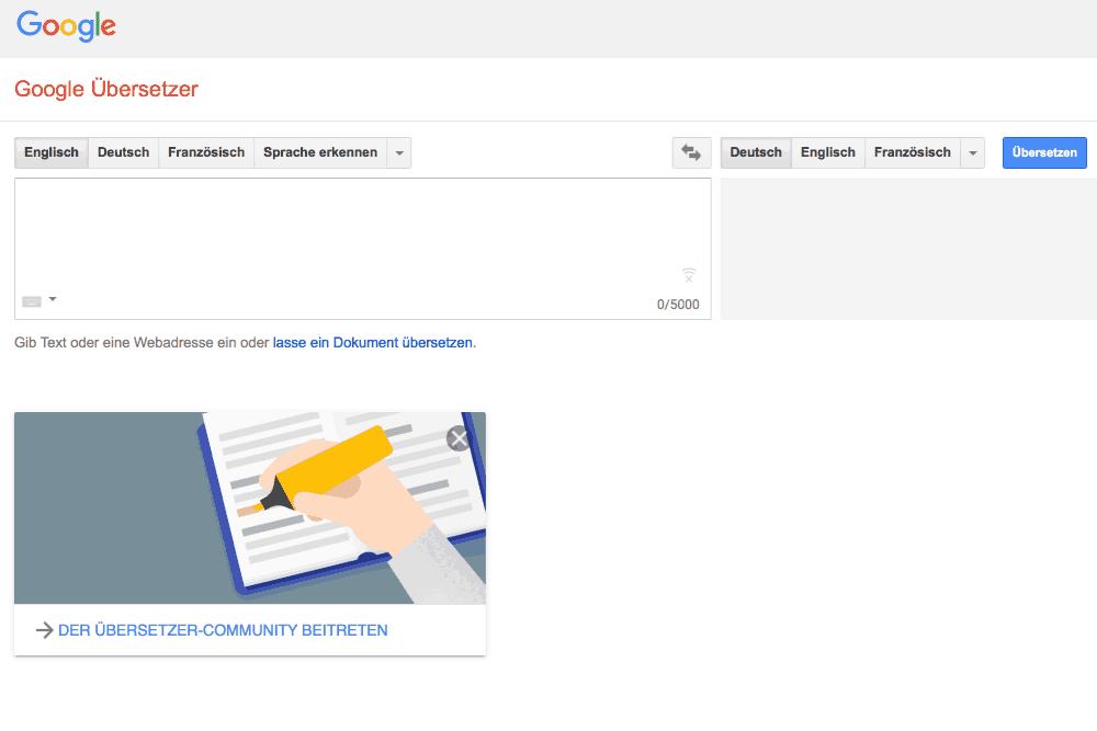 Google Übersetzer für Schnittmuster
