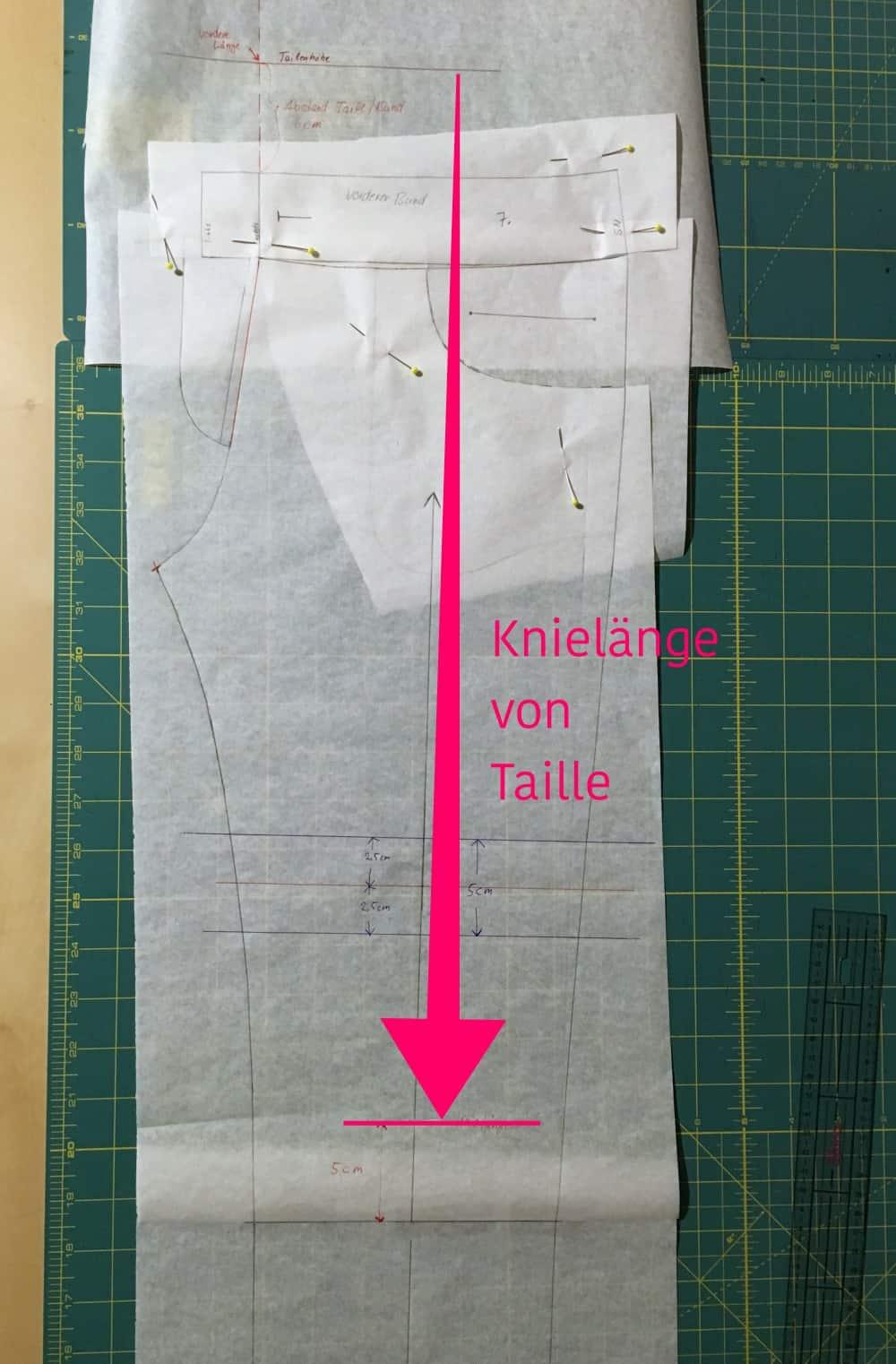 Knietiefe einer Hose messen