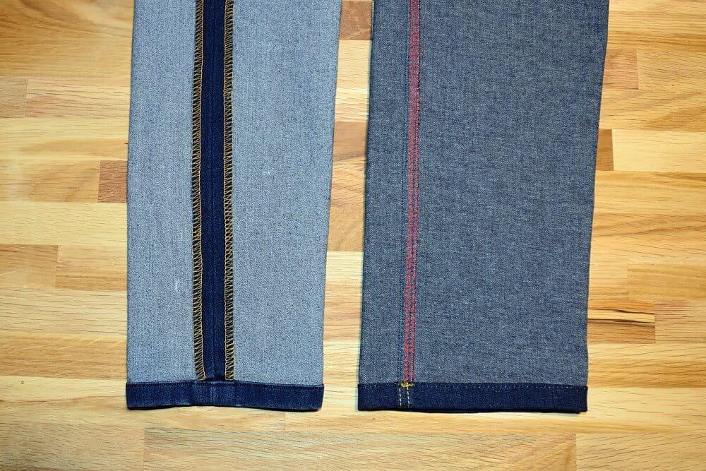 Verzaubern der inneren Nähte einer genähten Jeans.