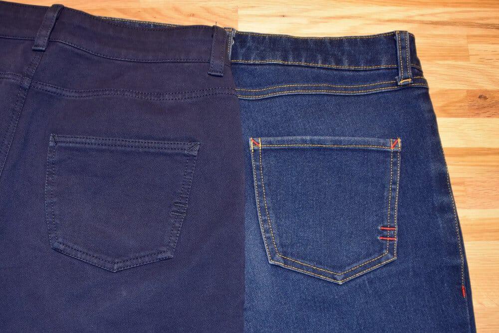 Jeans Taschen auf der Rückseite im Vergleich.