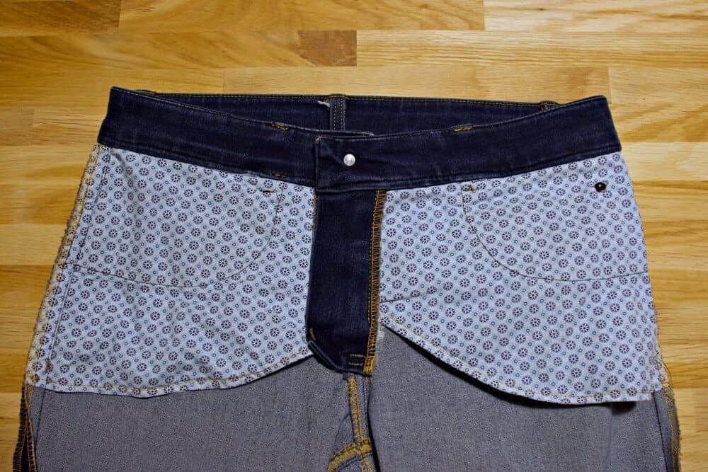 Jeans mit der Nähmaschine nähen  - Hosentaschen von innen.
