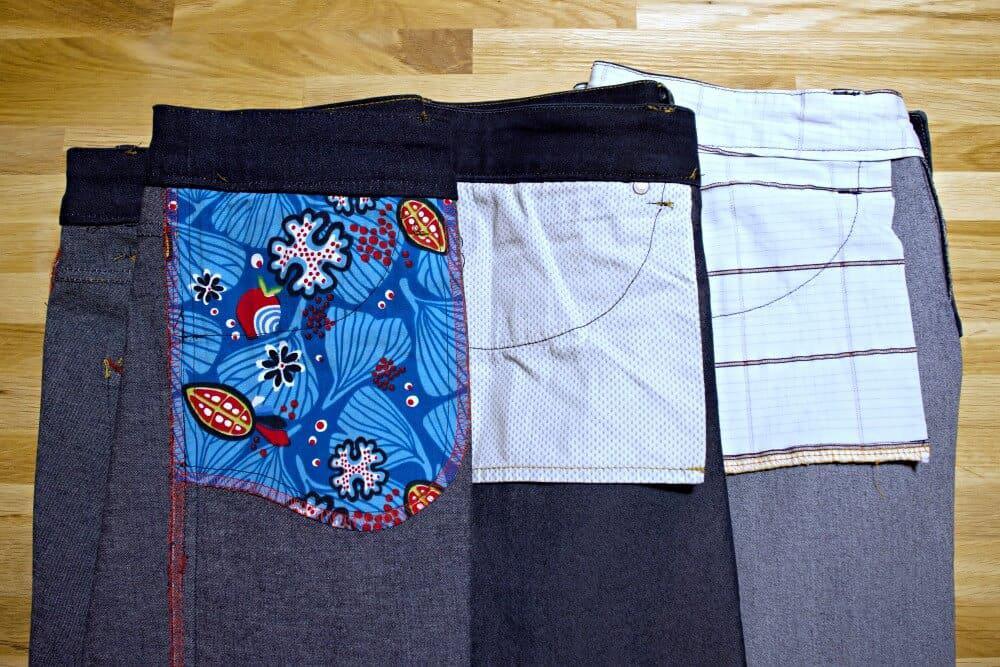 Hosentaschen aus Baumwolle einer genähten Jeans.