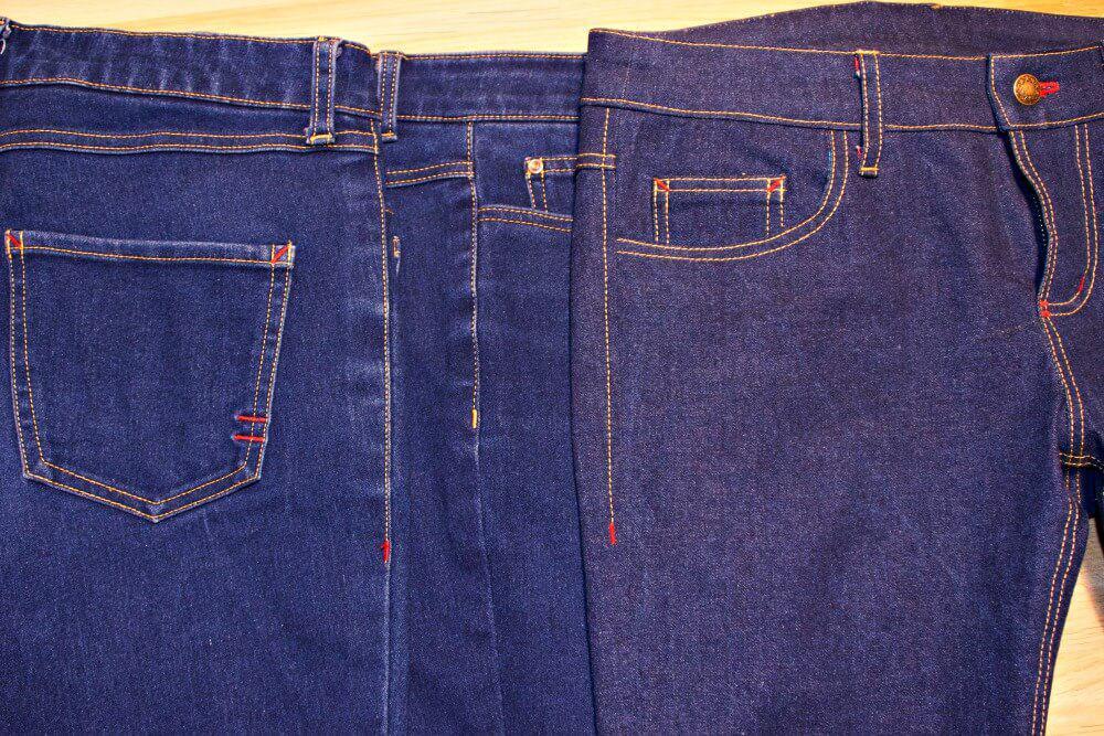 Raupennähte einer Jeans im an der Seite.