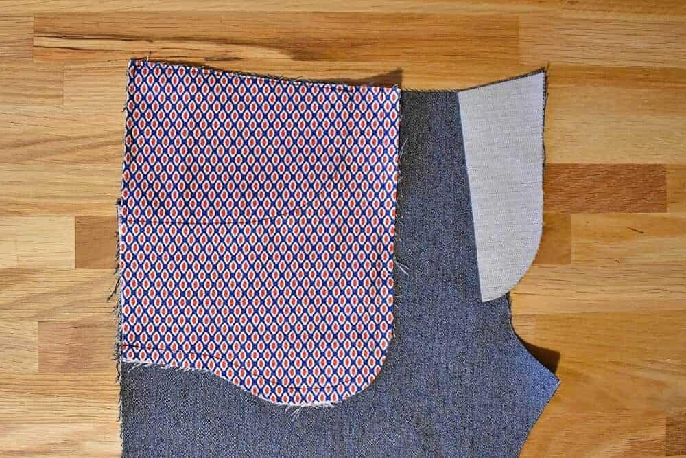 Genähter Taschenbeutel der Jeans