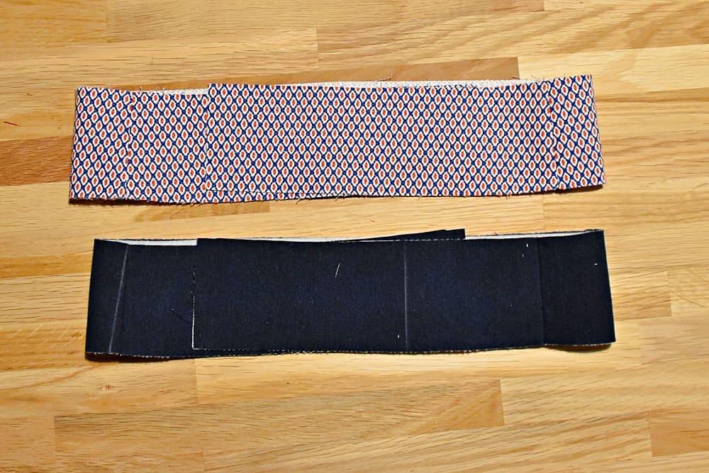 Nahtzugabe des Hosenbundes auseinander bügeln