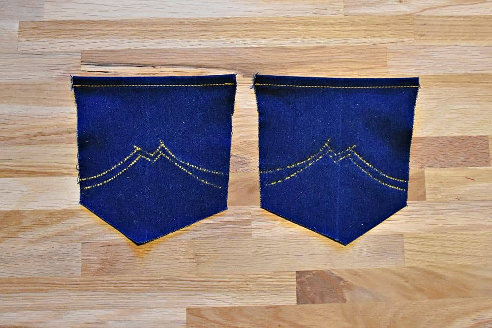Zierstiche vorzeichnen an Jeans-Taschen