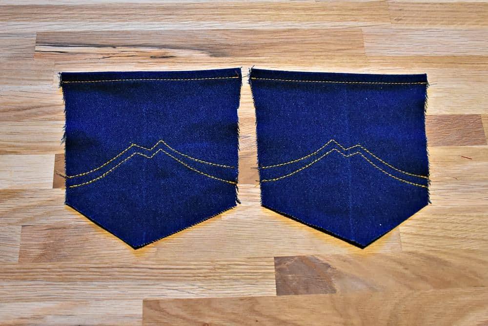 Zierstiche Beispiel für Jeans-Taschen selber nähen