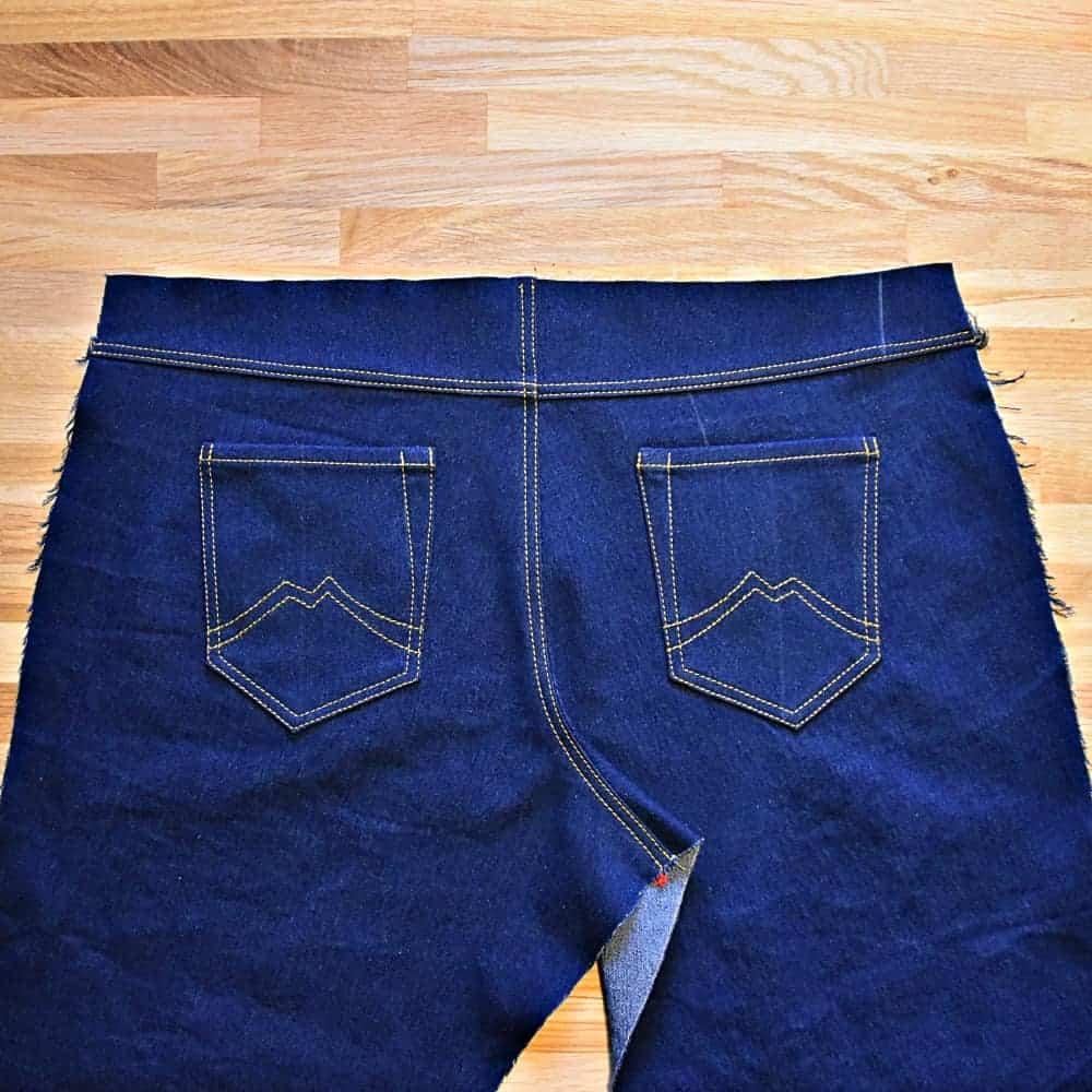 Jeans nähen Teil 9: Hinterhose mit Taschen und Sattel nähen