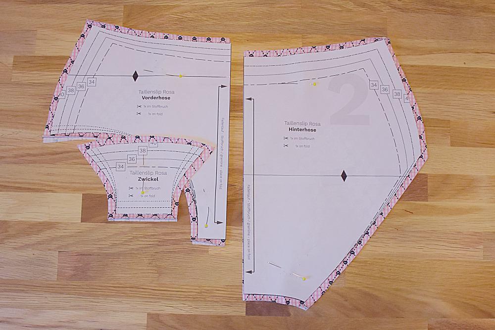 Schnitteile zugeschnitten Taillenslip Rosa