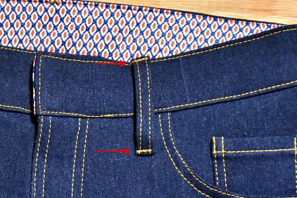 Mit Geradstich Gürtelschlaufen Jeans festnähen