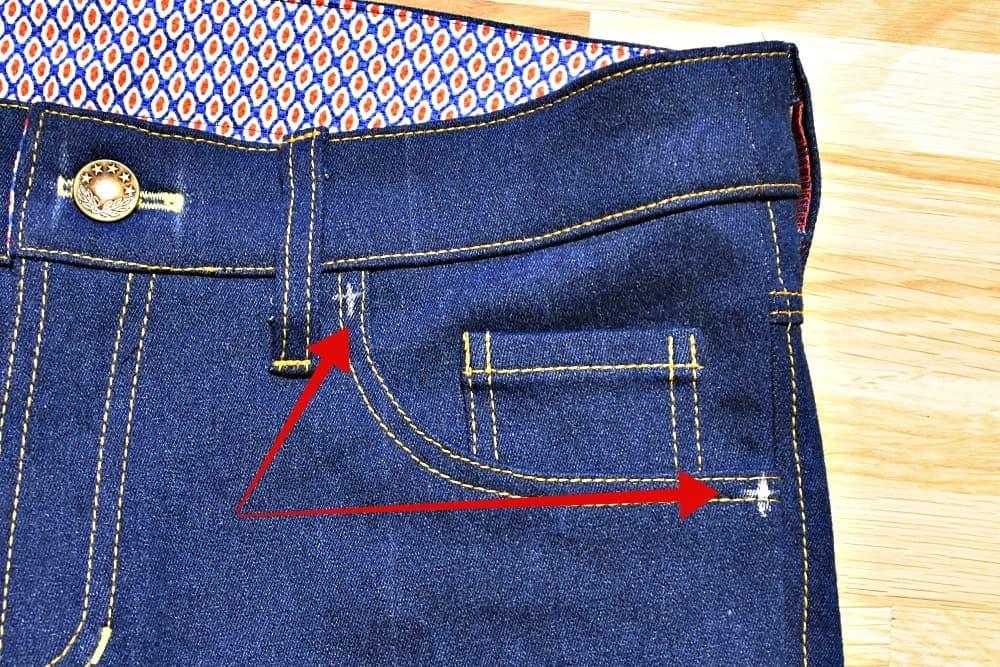 Stellen fuer Jeansnieten markieren