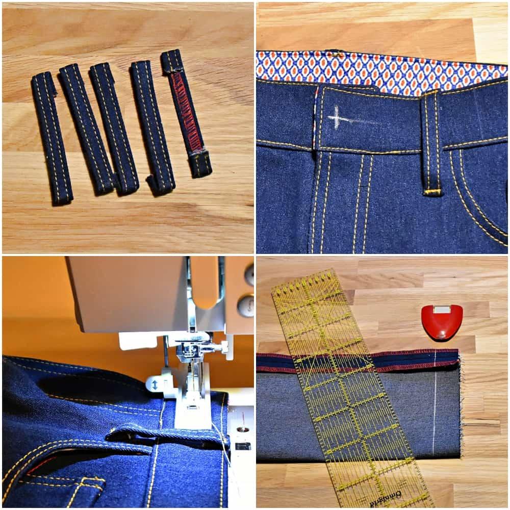 Jeans Nähkurs Teil 12: Gürtelschlaufen, Saum und das Knopfloch