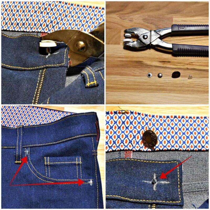 Jeans Nähkurs Teil 13: Nieten und Jeansknopf richtig verarbeiten