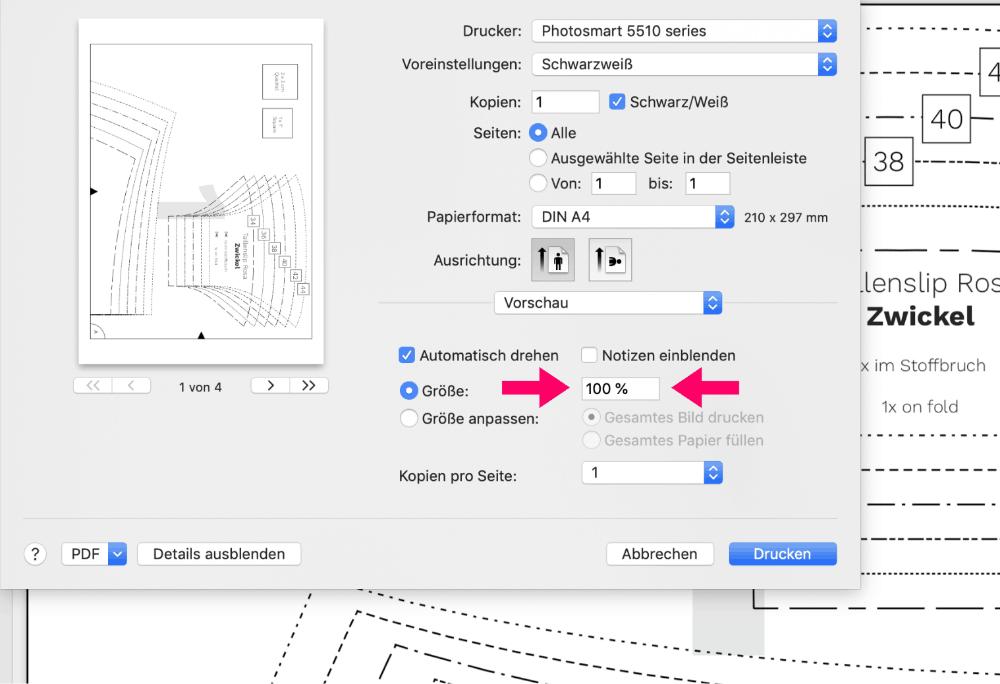Schnittmuster PDF drucken