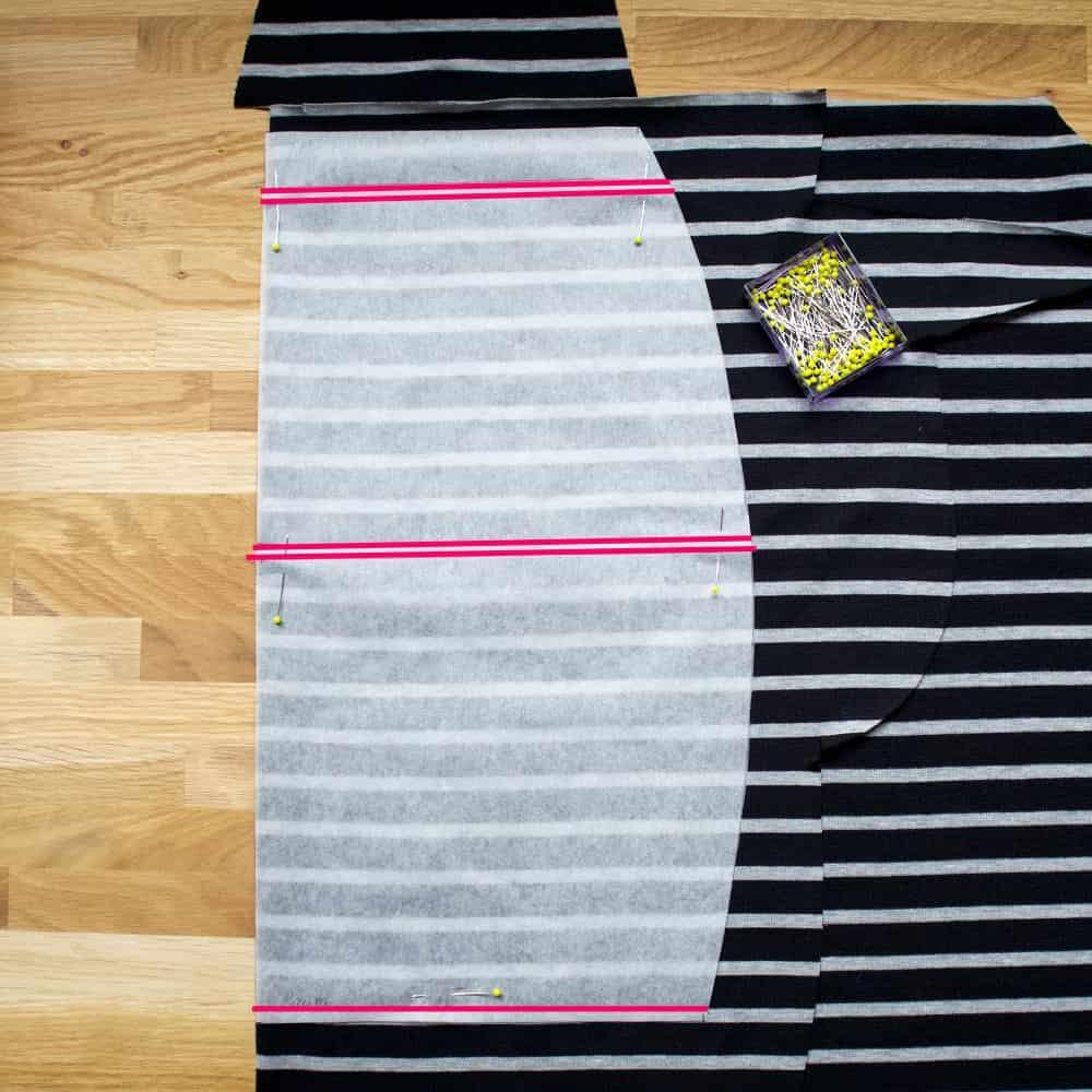 Jerseyrock zuschneiden mit Streifen
