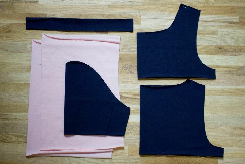 zugeschnittene Schnittteile für das Color Blocking Shirt