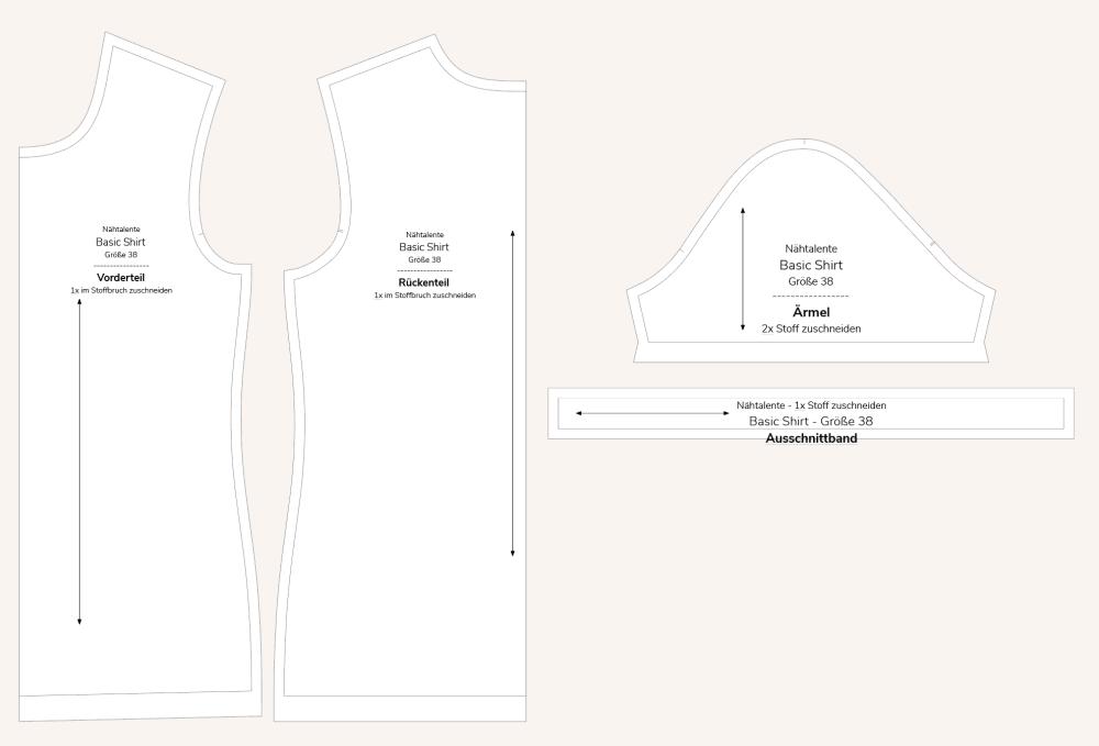 Basic T-Shirt Schnittteile