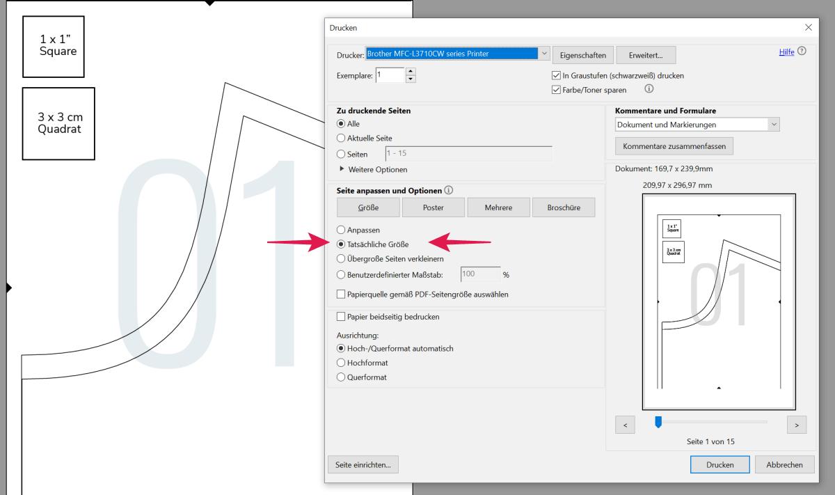 PDF Schnittmuster richtig drucken