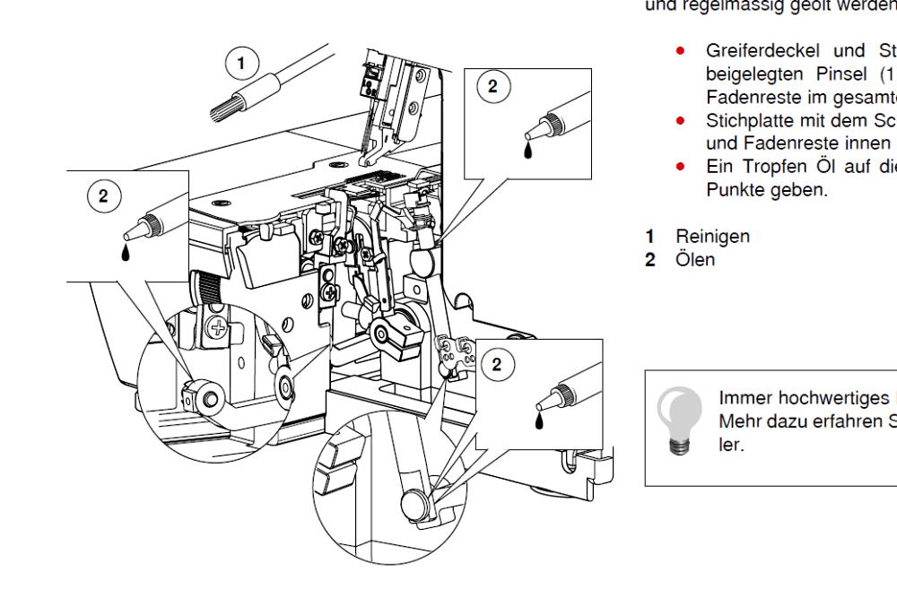 Ölstellen einer Overlock: Beispiel Bernina L460 Overlock