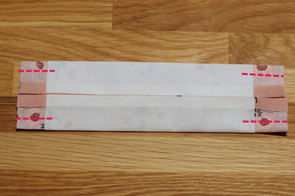 Beide Seiten eingeschlagen genäht für die Falten eines Mundschutz
