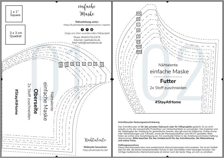 Atemschutzmaske Schnittmuster DIY nähen, kostenlose Schablone