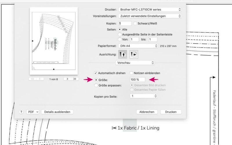 drucken PDF Schnittmuster Naehtalente Taillenslipac