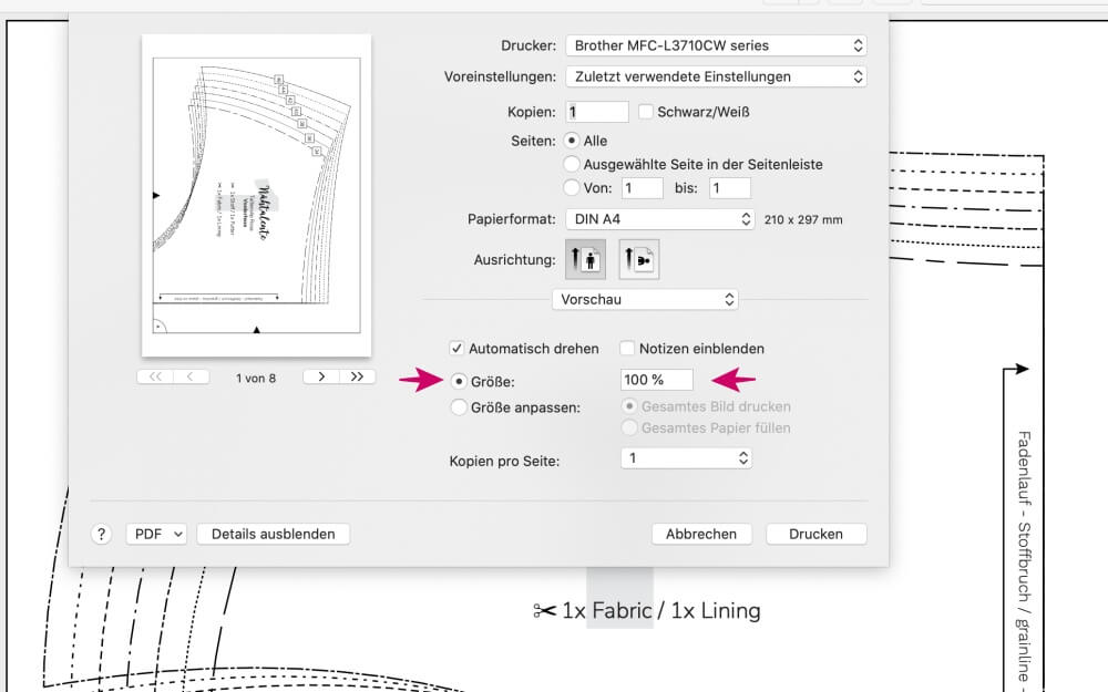 drucken PDF Schnittmuster Naehtalente