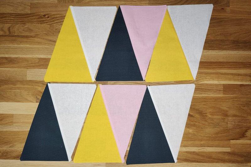 Dreiecke auslegen Quilt
