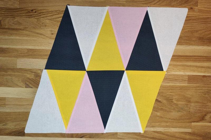 Reihen im Dreiecksquilt