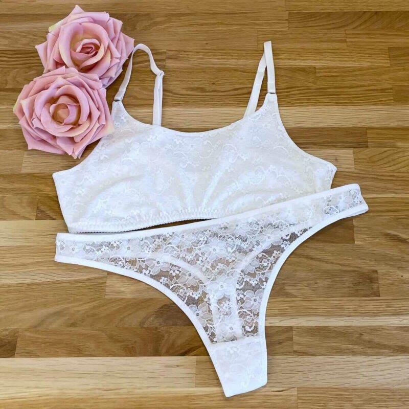 Wäscheset für Damen nähen – String und Bustier aus elastischer Spitze