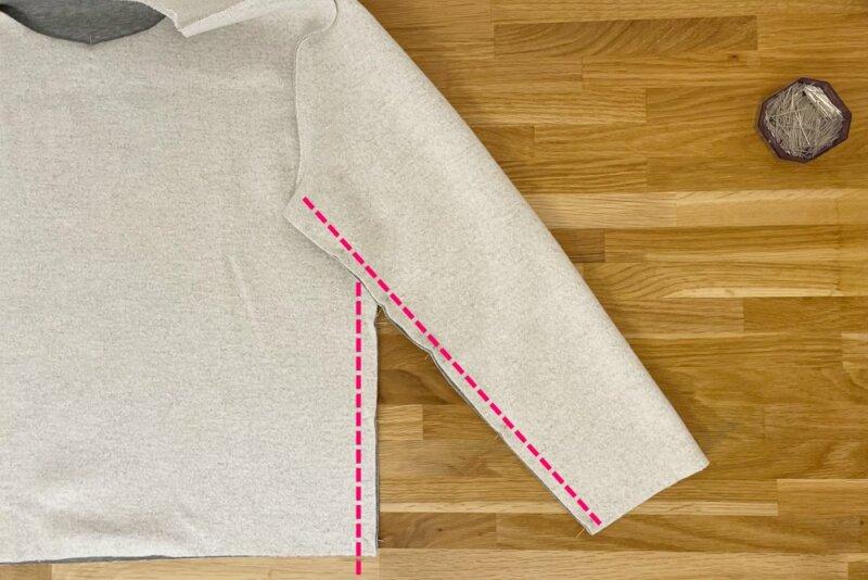 Sweatshirt Seitennähte nähen und stecken